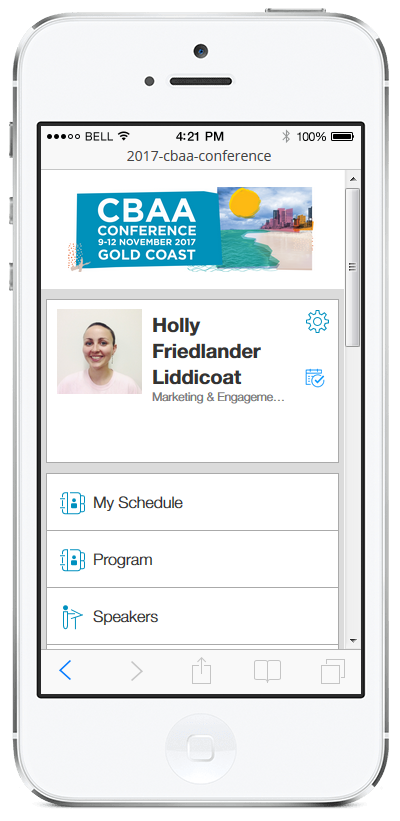 2017 CBAA Conference app - homepage