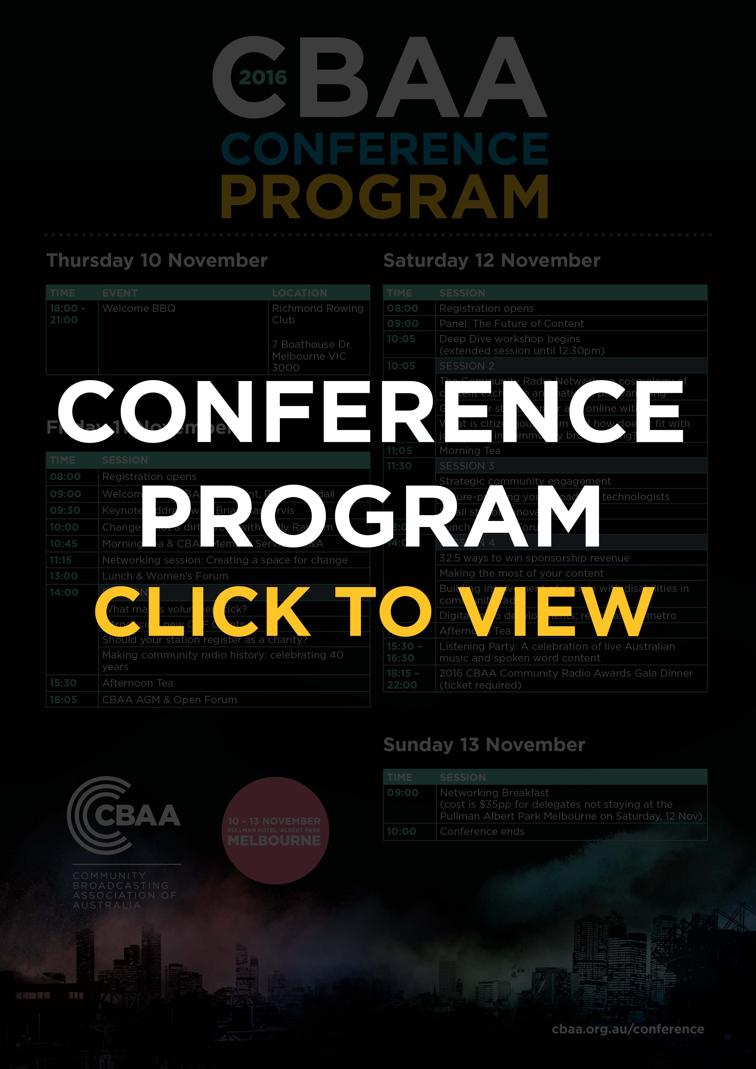 CBAA Conference Program Grid - click to view