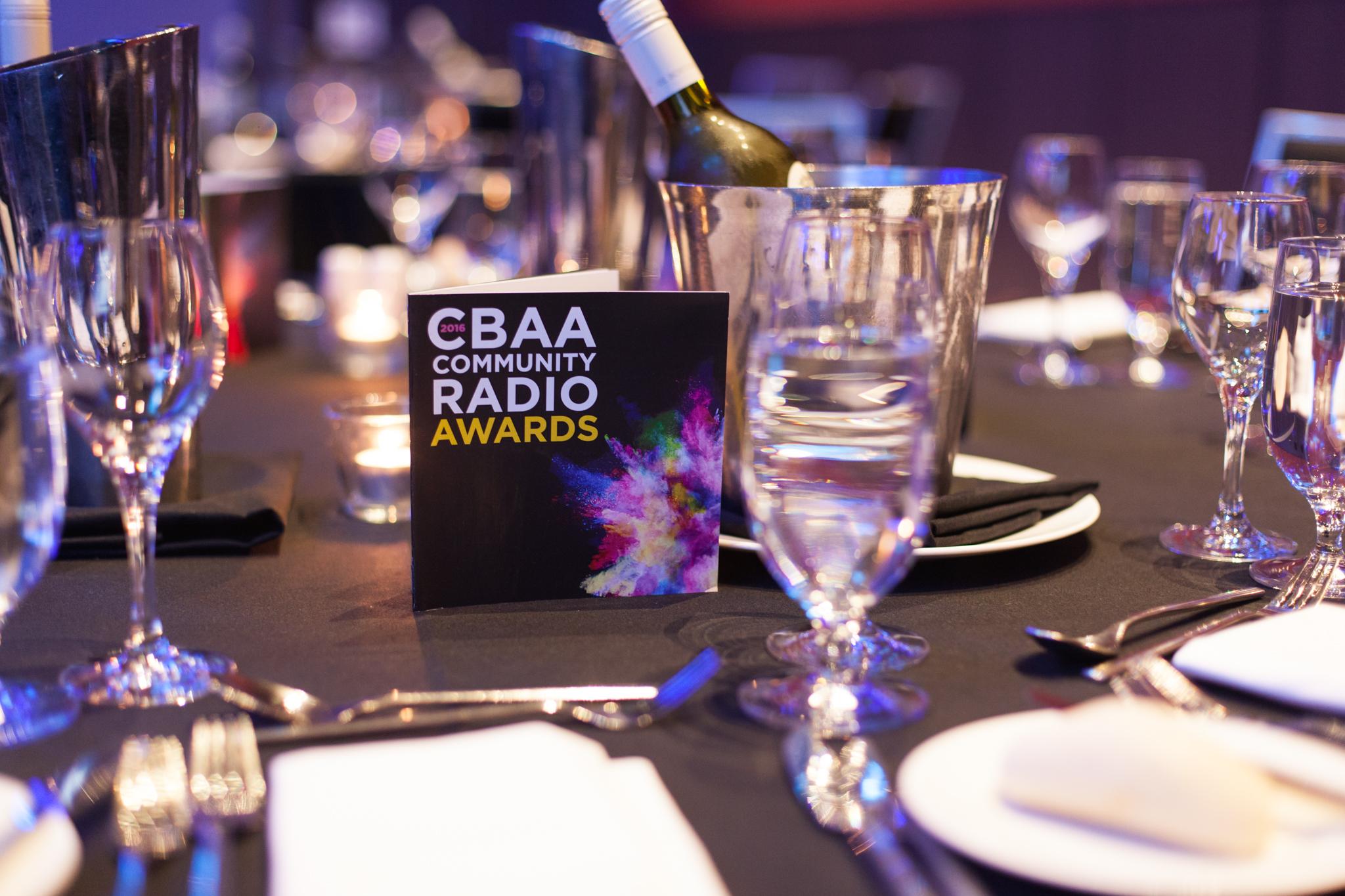 2016 CBAA Awards - Table