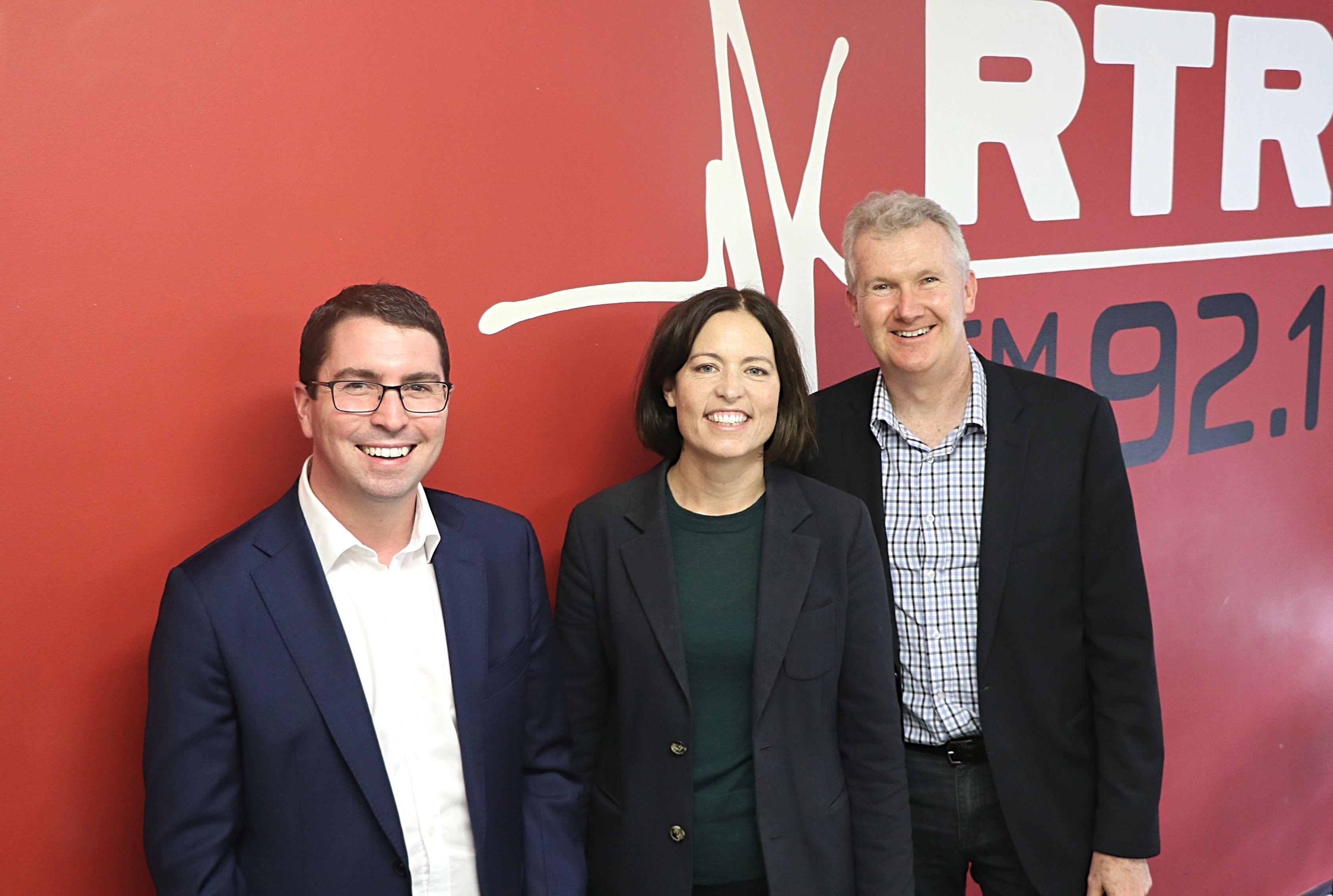 Patrick Gorman, Tony Burke and Karen Lee RTR FM