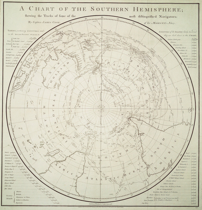James Cook's 1777 chart of the Southern Hemisphere