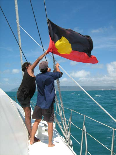 Aboriginal Flag being raised on a boat