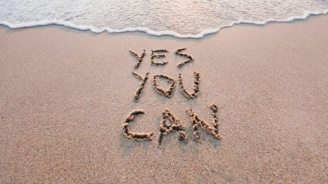 Yes You Can written in sand
