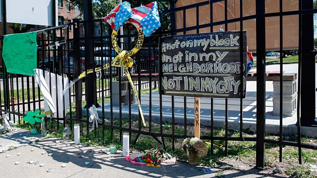 A memorial where Chantell Grant and Andrea Stoudemire were shot and killed 28 July 2019, in the South Side of Chicago, Illinois.