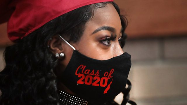 Woman with face mask saying 'Class of 2020'