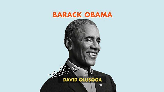 Barack Obama talks to David Olusoga logo