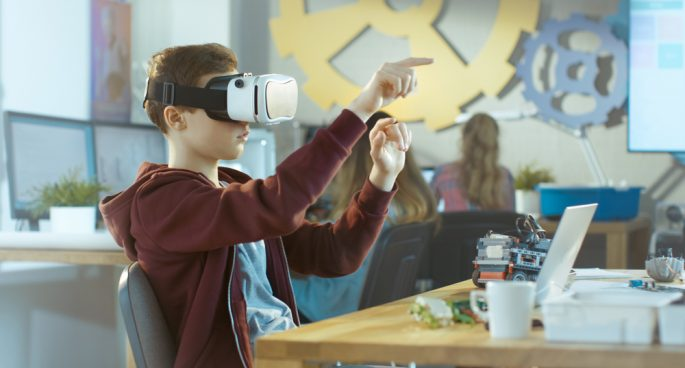 Child learning with VR
