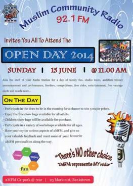 Muslim Community Radio  2014 Open Day Poster