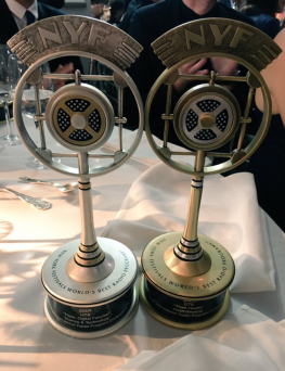 2ser New York Festival award trophies