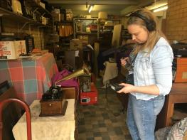 Kaarina Lindell recording an Edison Phonograph at Resurrection Radio