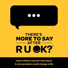 R U OK Day social media tile in black and yellow with speech bubble