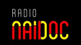 Radio NAIDOC logo. Text spelt out in red and yellow colours.