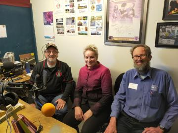 In Western Australia, Donnybrook Balingup Community Radio's Tony Wright and Barry Green, with the Hon Alannah MacTiernan, WA Minister for Regional Development.