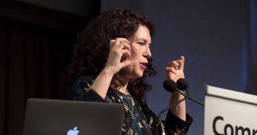 Social researcher Rebecca Huntley addresses the conference. Picture: Ellen Smith/esphotos.com.au
