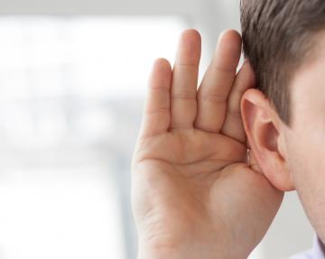 A man listening