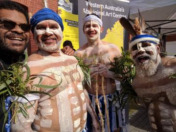 Noongar Radio Breakfast's 2Norty Broz' Samuel-Yombich Pilot Kickett with Walter McGuire and Gya Ngoop Dancers at Perth's Cultural Centre